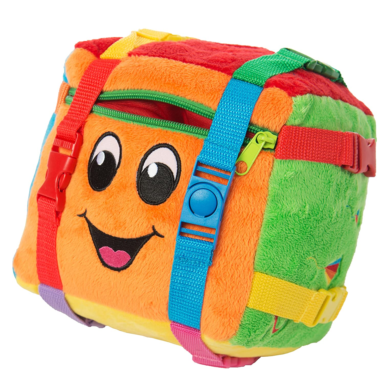 BUCKLE TOY Bingo Activity Cube - Toddler Early Learning Basic Life Skills Children's Travel Plush Buckle Toy Inc