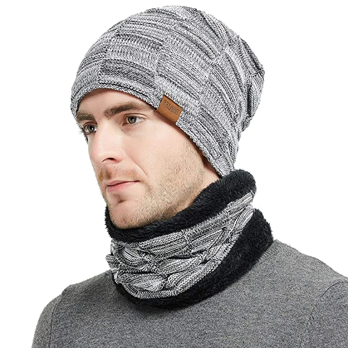 9c1072a69 REDESS Winter Warm Beanie Knitting Hat Scarf Neck Warmer Set for Men ...