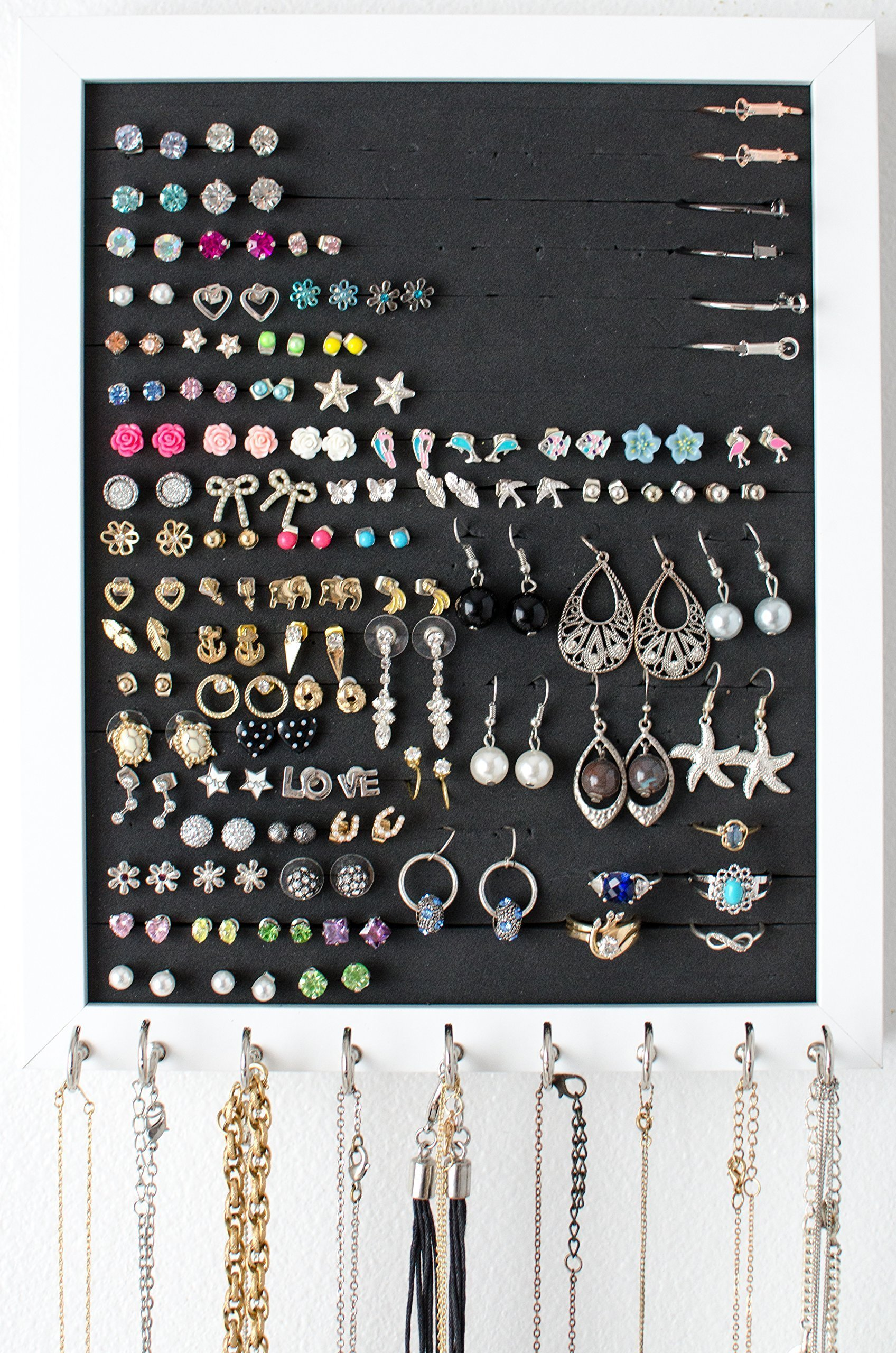 Hanging Jewelry Organizer - 8x10 White Frame - Post or Stud Earring Holder - Necklace Hooks