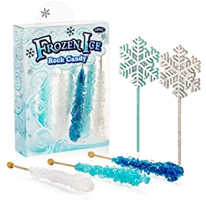 Frozen Ice Rock Candy Sticks - 10 Individually Wrapped Rock Candy on a Stick, 2 Wands - Includes