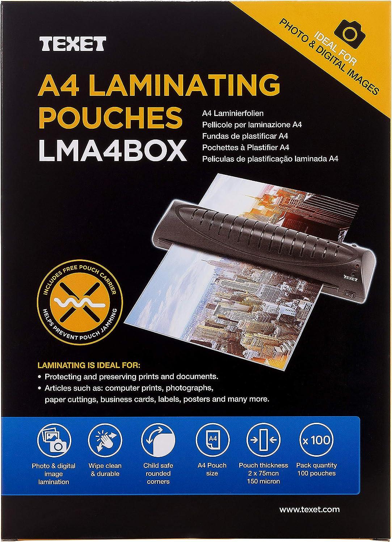 Texet - Paquete de 100 fundas A4 para plastificar, transparente ...
