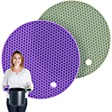Pratipad Plus 4-in-1 Multipurpose Round Silicone Pot Holders, Trivets, Jar Openers, & Spoon Rests - Extra Thick - Set of 2