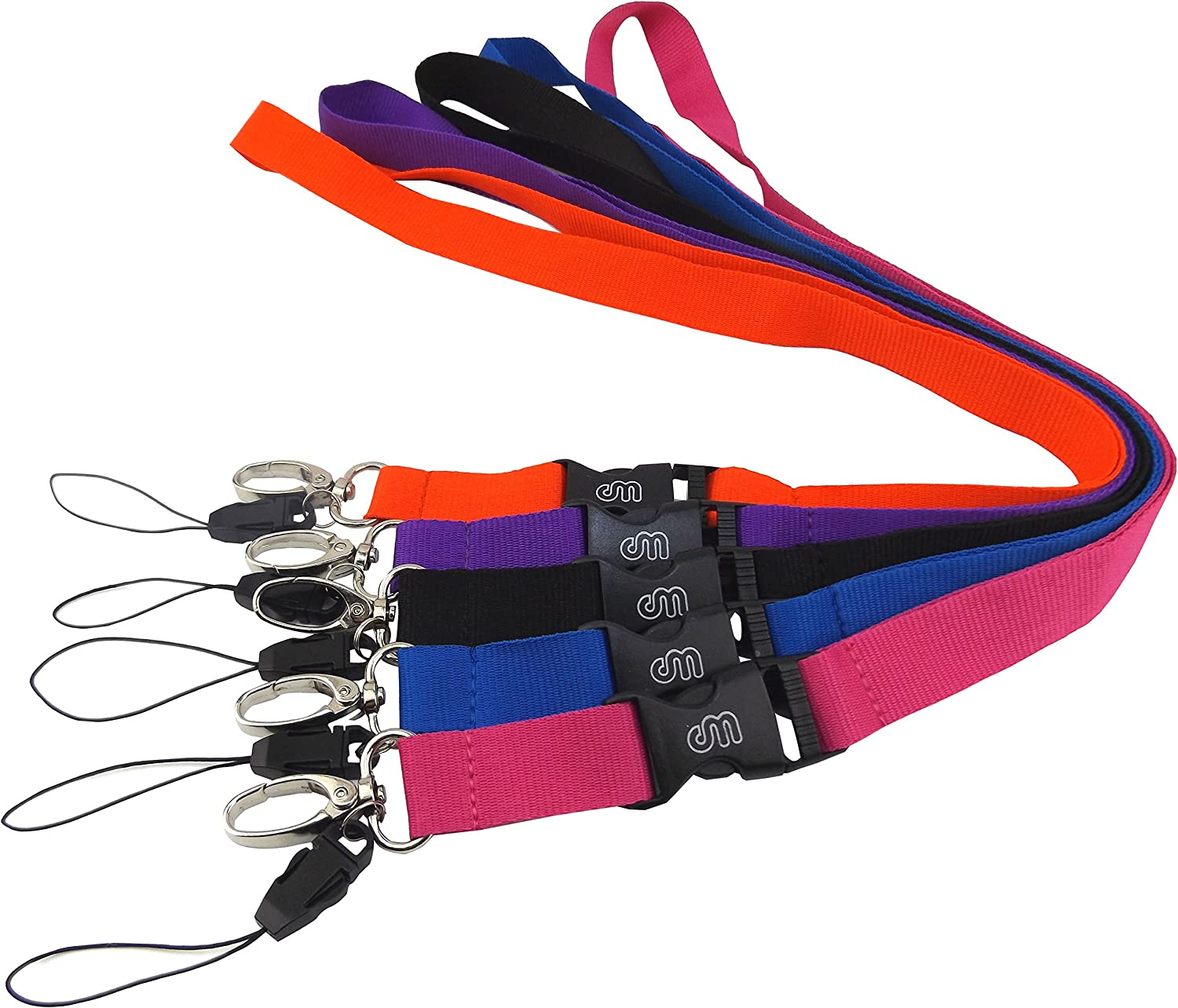 Office Lanyard, Wisdompro 5pcs 23 inch Polyester Neck Strap with Oval Clasp and Detachable Buckle for Phone, Camera, iPod, USB, Key, Keychain, ID Name Tag Badge Holder (Purple Red Hotpink Blue Black)