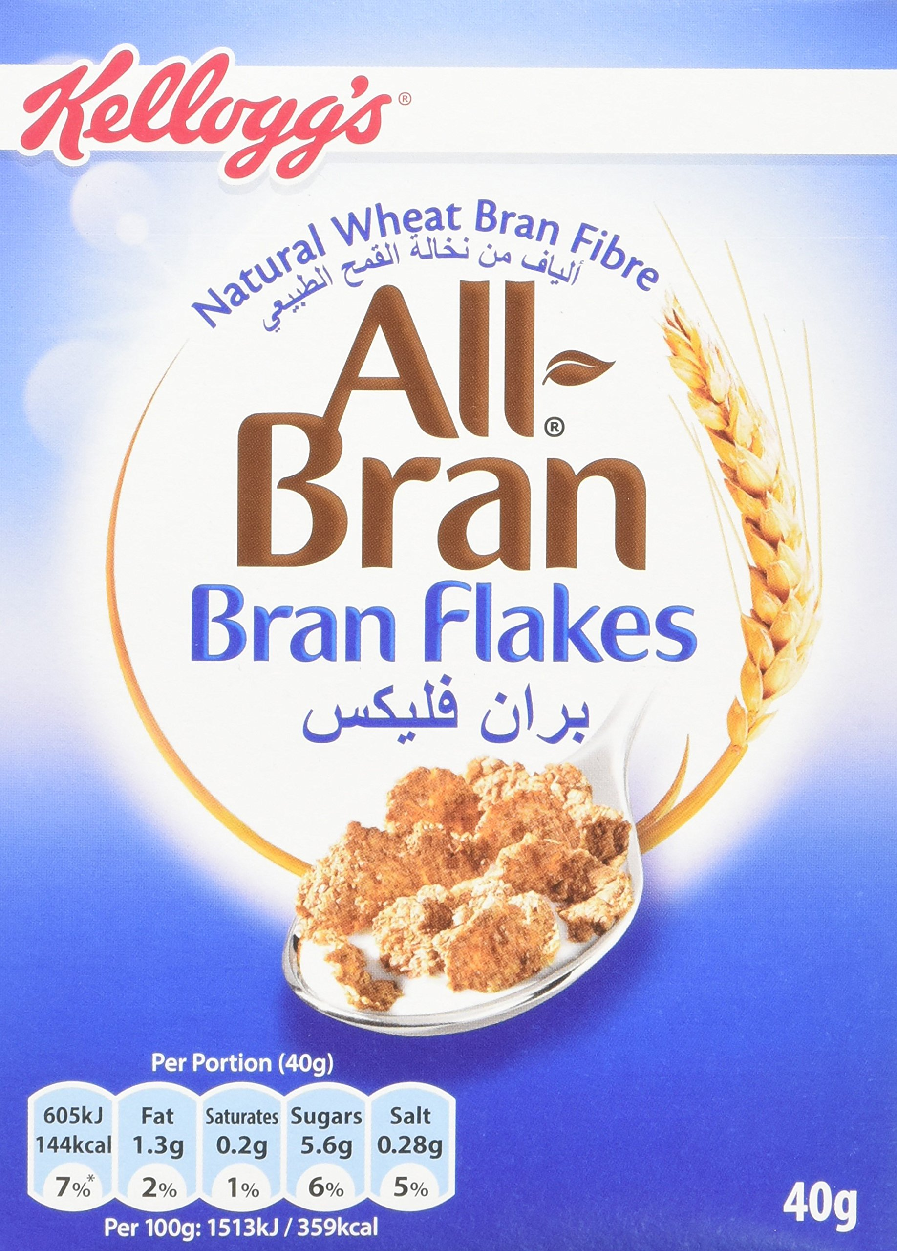 All-Bran Flakes Cereal Packets, 40 g, (Pack of 40)