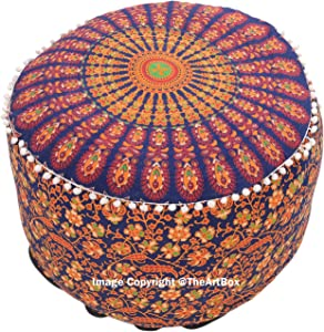 The Art Box Indian Vintage Peacock Mandala Footstool Ottoman Living Room Handmade Furniture Stool Round Cotton Pouf Cover 14 x 24 Approx.