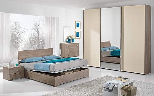 Dafne Italian Design Dormitorio Completo Efecto Roble Gris Pino Claro Cama De Matrimonio Armario Mesilla De Noche Espejo Cómoda Amazon Es Hogar