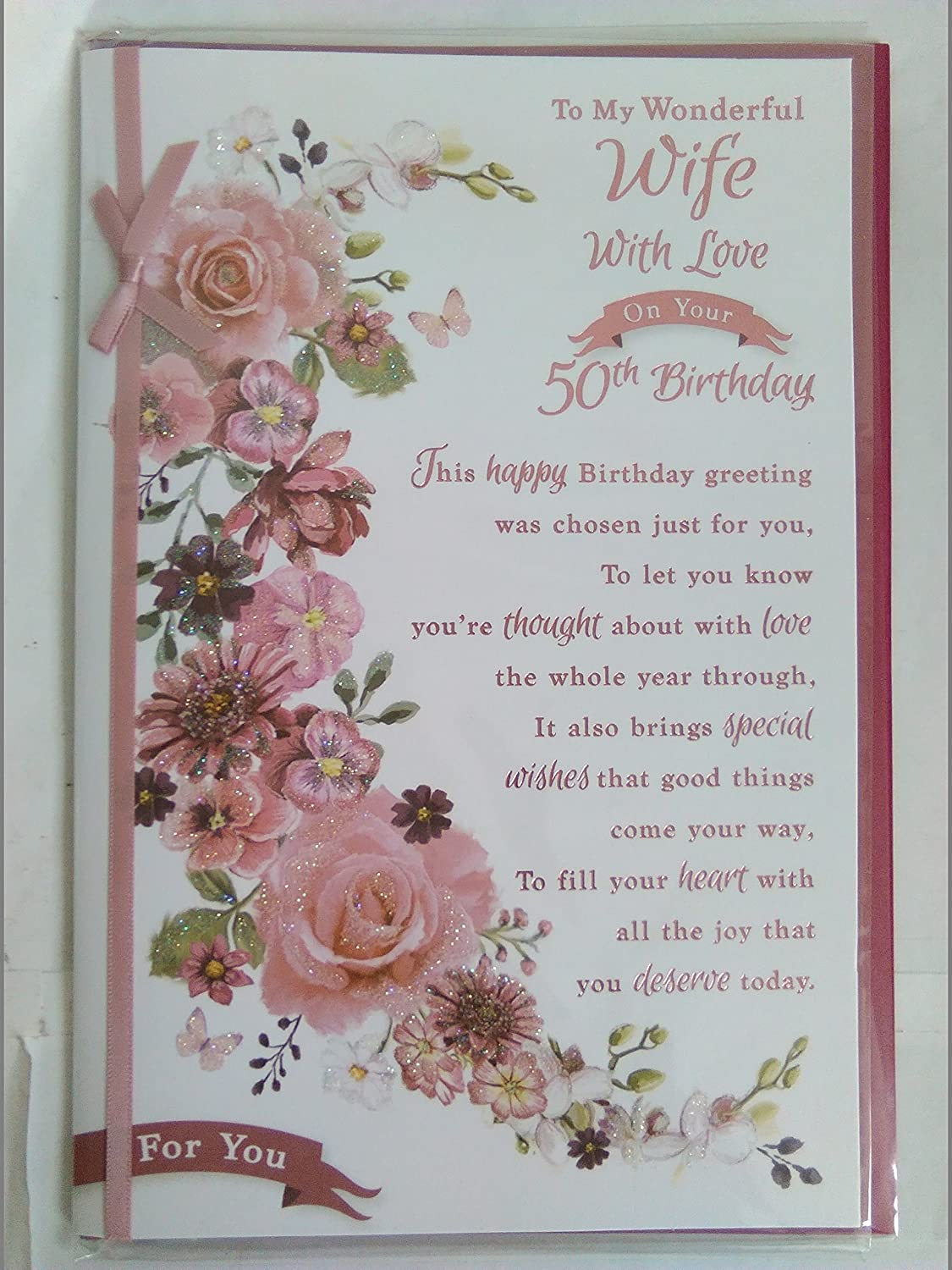 To my wonderful wife with love on your 50th birthday card 50 fifty to my wonderful wife with love on your 50th birthday card 50 fifty whitepink flowers glitterfoilribbon detail amazon office products izmirmasajfo