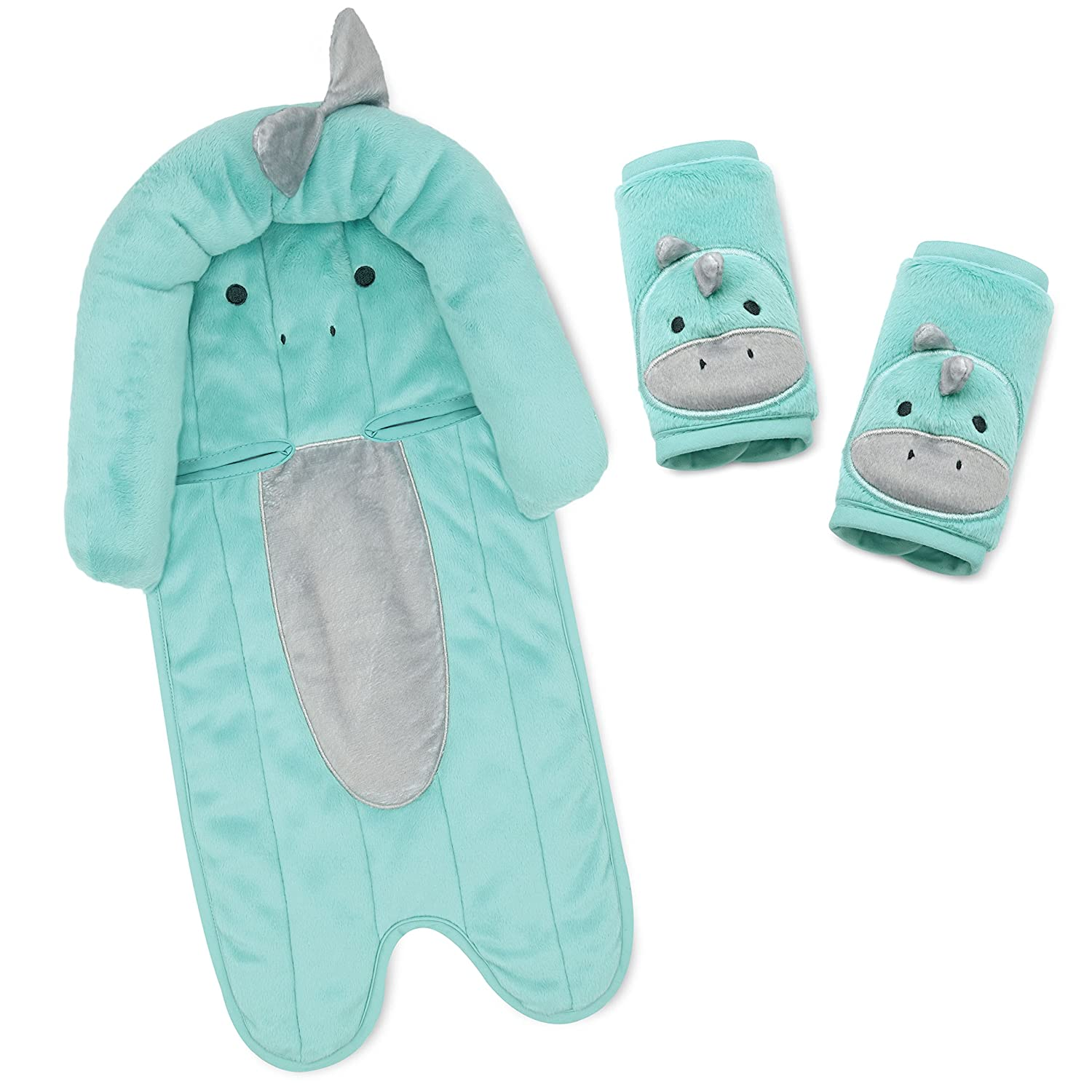 infant headsupport and matching strap covers aqua minky all