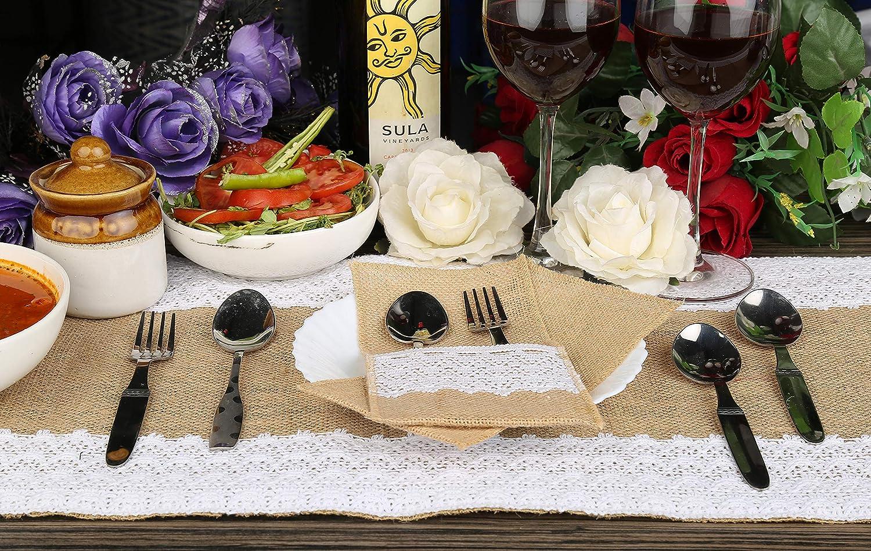 21x11 cm 4 St/ück Sackleinen Vintage Besteckbeutel mit wei/ßer Spitze Tischdekoration f/ür Partyhochzeit RAJRANG BRINGING RAJASTHAN TO YOU Jute Bestecktasche