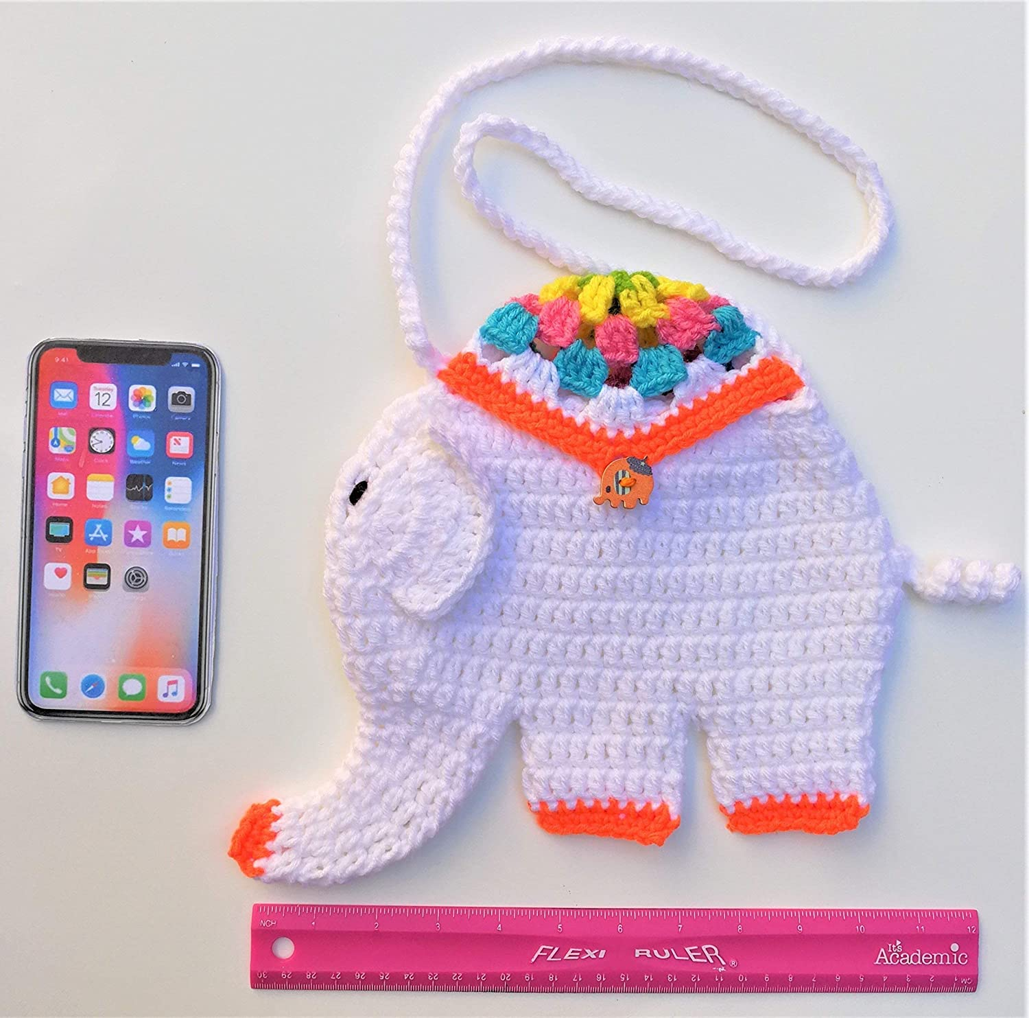 Cute Kids Elephant Gift Purse Little Girls Boys Stuffed Adorable Animal  Crocheted Handbag 94061bc93f451