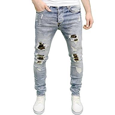 6a89a027e7d73 Eto Mens Designer Lightwash Slim Fit Stretch Ripped Camo Patch Jeans  Amazon .co.uk  Clothing