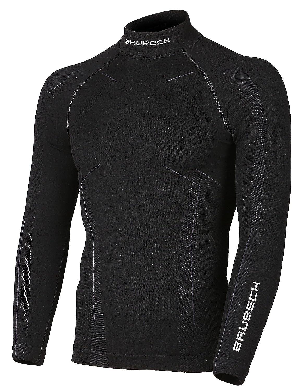 BRUBECK® LS11920 BODYGUARD WOOL Uomo Camicia Manica lunga Termico da Merino (Biancheria intima Elastica Antiallergico Antibatterico)