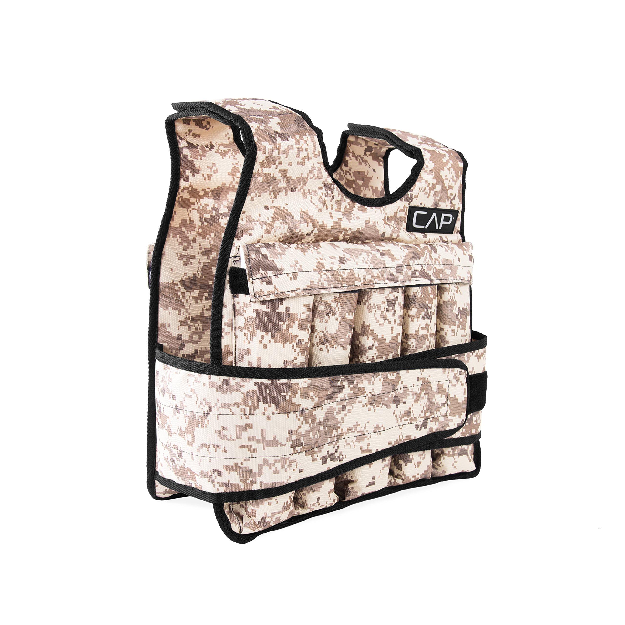 CAP Barbell 40 Lb Cap Adjustable Weighted Vest, Light Brown Camo