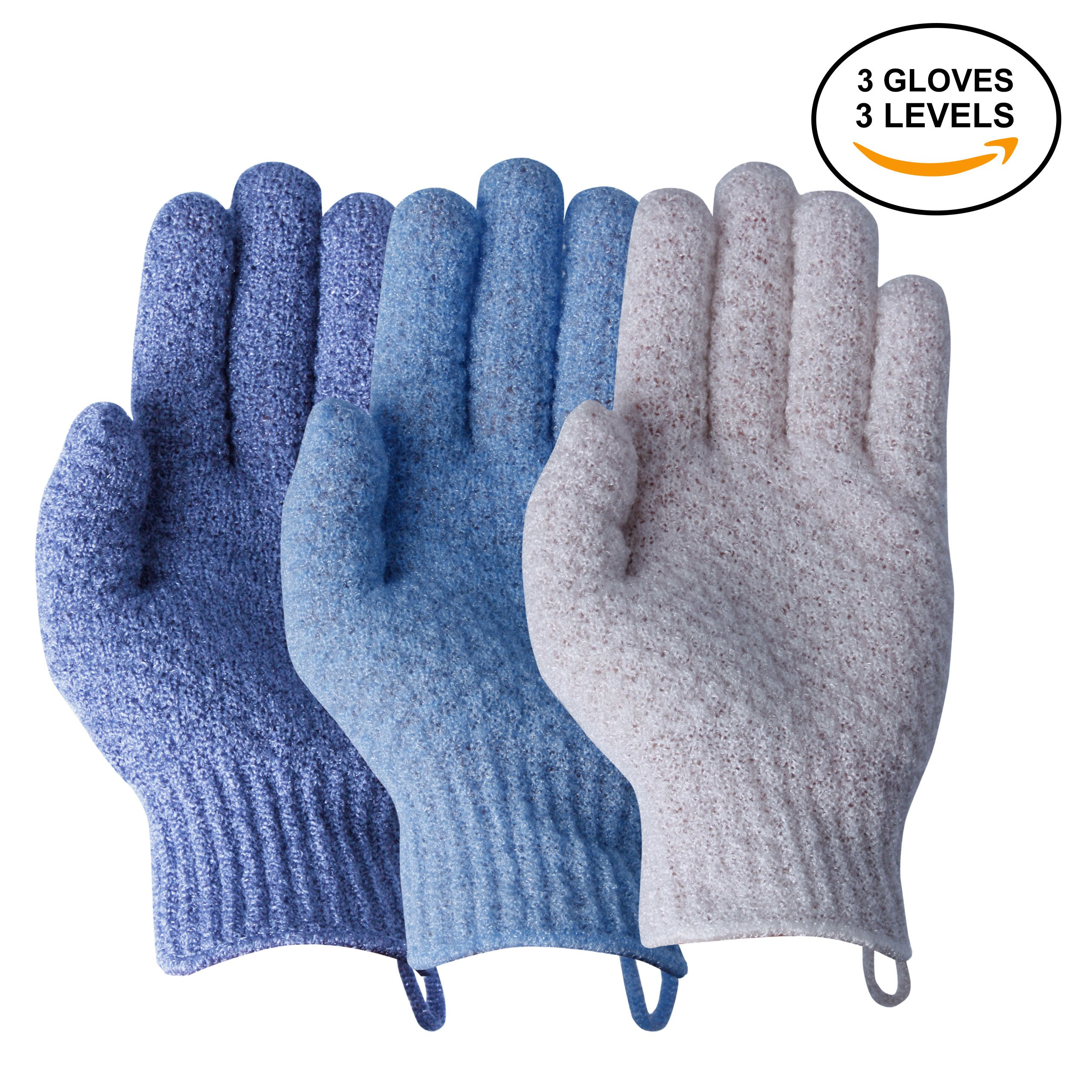 3 Distinct Levels, 3 Pack EvridWear Exfoliating Dual Texture Bath Gloves for Shower, Spa, Massage and Body Scrubs, Dead Skin Cell Remover, Gloves with hanging loop, 3 Colors 3 Exfoliating levels