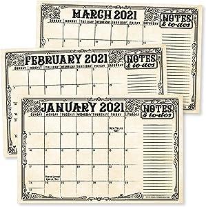 "Vintage 2021-2022 Desk Calendar, Large Monthly Wall Planner, 18 Month Academic Desktop Calendar or Fridge Planning Blotter Pad, Elegant Notes Section for Teacher, Family, or Business Office 11x17"""