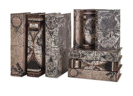 IMAX Mason Mapa Libro Cajas, Set de 9