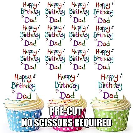 AK Giftshop Colourful Happy Birthday Dad Cake Decorations