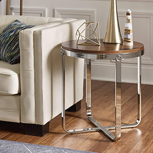 Inspire Q Merritt Chrome Finish Frame Wood Top End Table by Modern