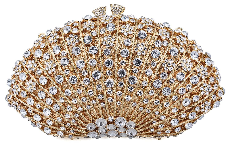 Mossmon Crystal Clutch Women Luxury Rhinestone Evening Bag (Gold)