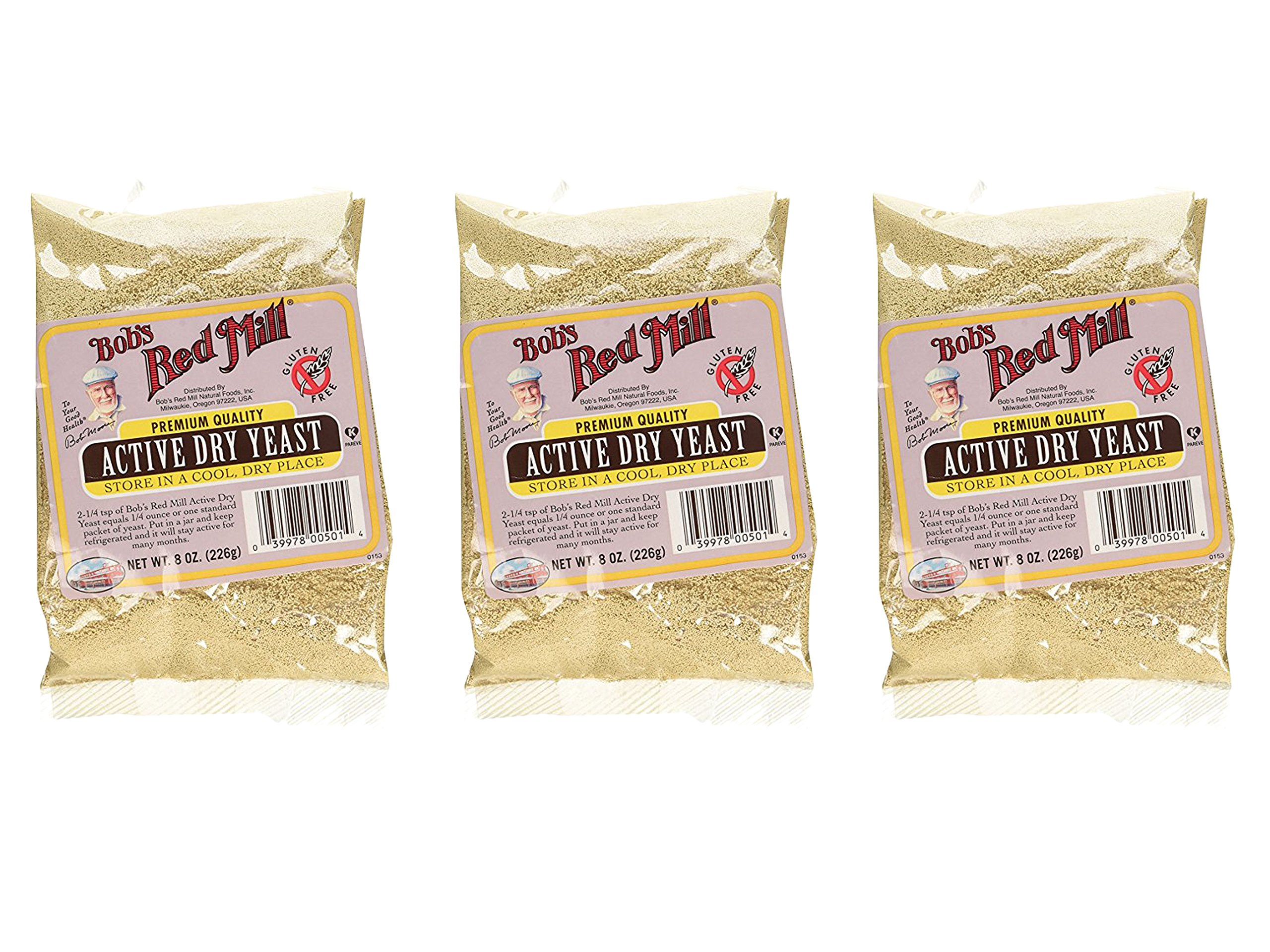Set of 3 Bob's Red Mill Gluten Free Active Dry Yeast, 8-ounce bundled by Maven Gifts by Haddon House