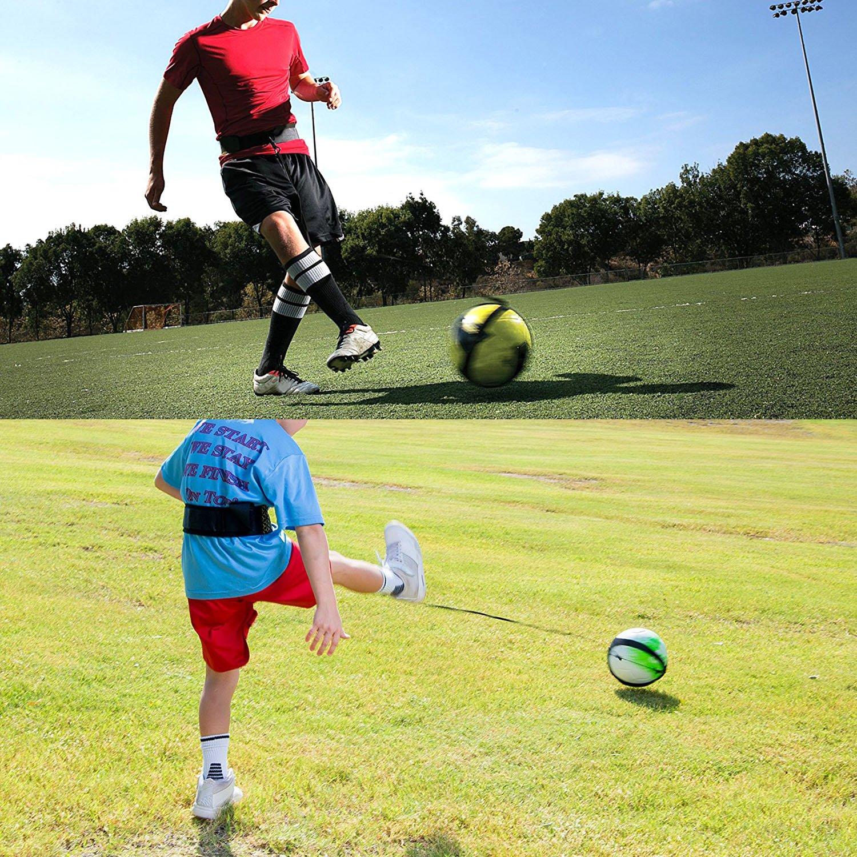 Calcio Allenamento Aids per Bambini e Adulti Regolazione bidirezionale della Lunghezza della cintura Calcio Trainer Adatto per Palloni Taglia 3 4 5 SKL Solo Calcio Trainer