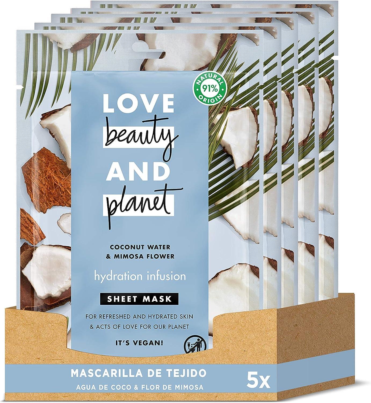 Love Beauty and Planet Mascarilla de Tejido para Piel fresca e hidratada, Agua de Coco y Flor de Mimosa Vegana - Pack de 5 x 21 ml (Total: 105 ml)