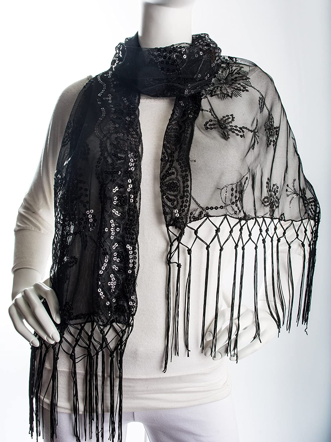 Vintage Scarves- New in the 1920s to 1960s Styles  Marguerite Shawl Sequin evening sheer wrap with knotted fringe ends $18.95 AT vintagedancer.com