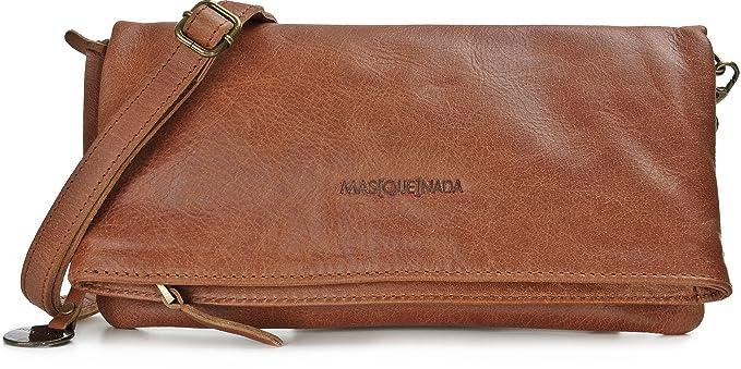 Masquenada, Sac bandoulière pour femme, Sac à main pour femme, Sac baguette cuir, Pochette femme, vrai cuir, cuir véritable, noir, 29,5 x 30,5 x 2 cm
