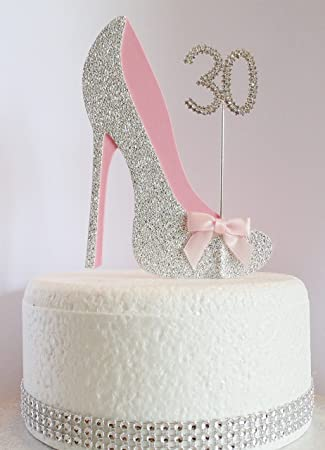 30th Birthday Cake Decoration Shoe With Diamante Number Non Edible Silver Pink Age