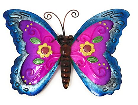 Metal Wall Art Decor Nature Inspired Flower Garden Bug Sculptures For Indoor Outdoor Butterfly
