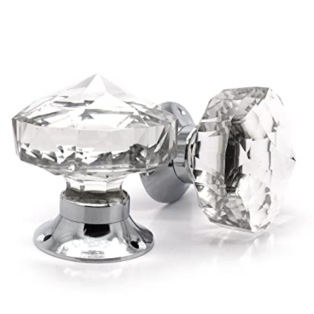 Pair Of Crystal Cut Faceted Clear Glass Door Knobs. Large Glass Turning  Mortice Door Handles