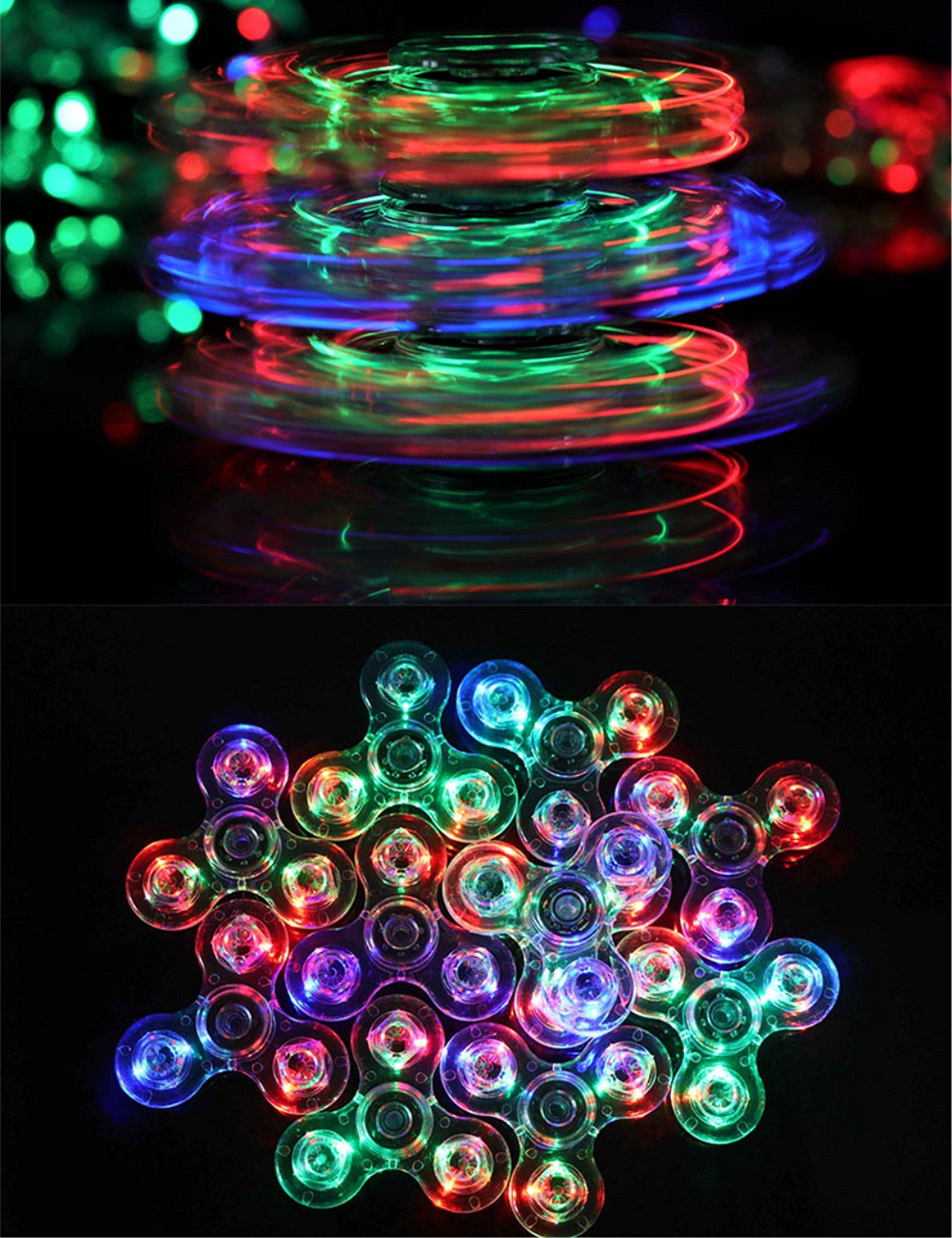 FIGROL Fidget Spinner, Clear Fidget Toy, Crystal Led Light Rainbow Toy Finger Hand Spinner-Kids(Crystal)