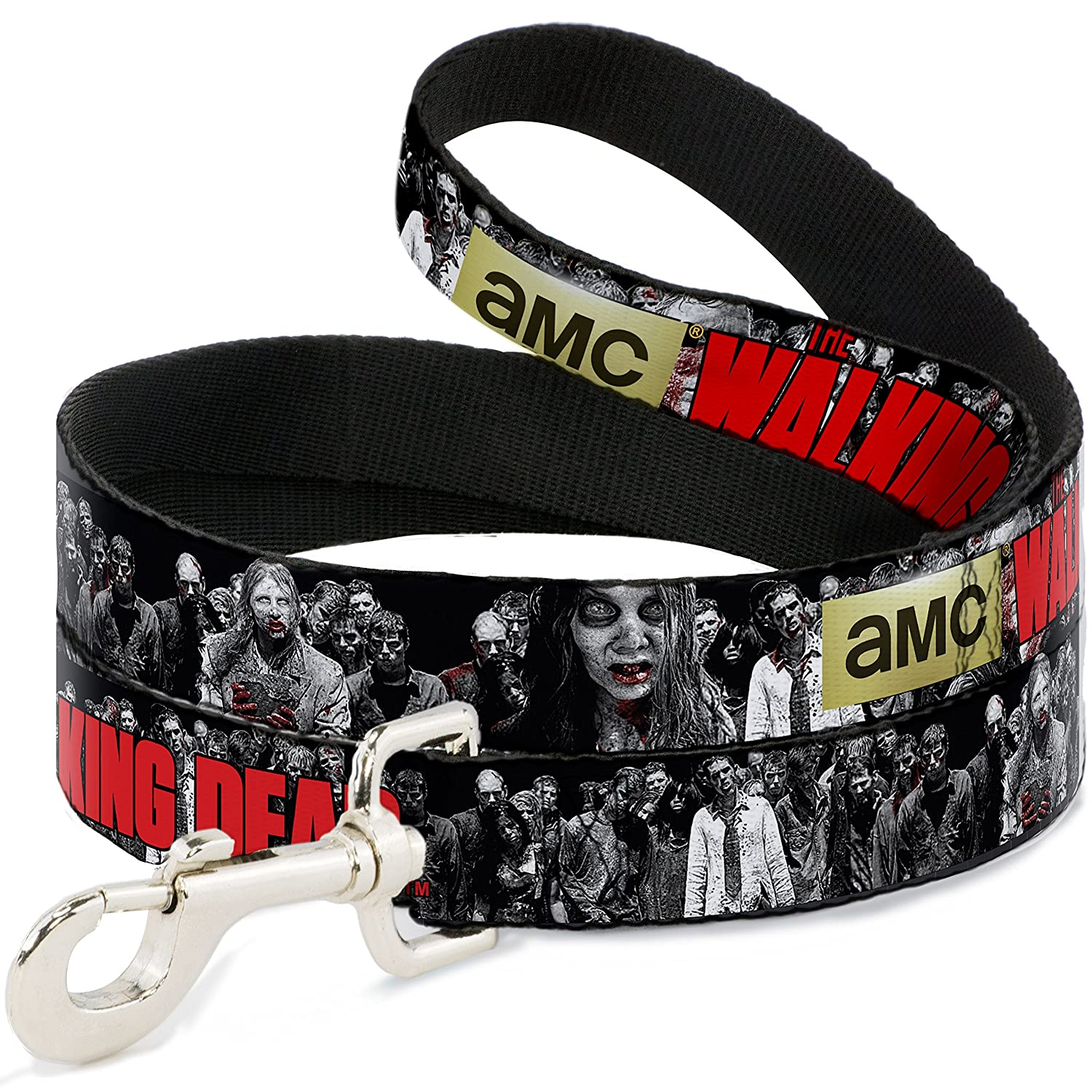 Buckle-Down AMC The Walking Dead Zombies2 Black White Red  Dog Leash, 6'