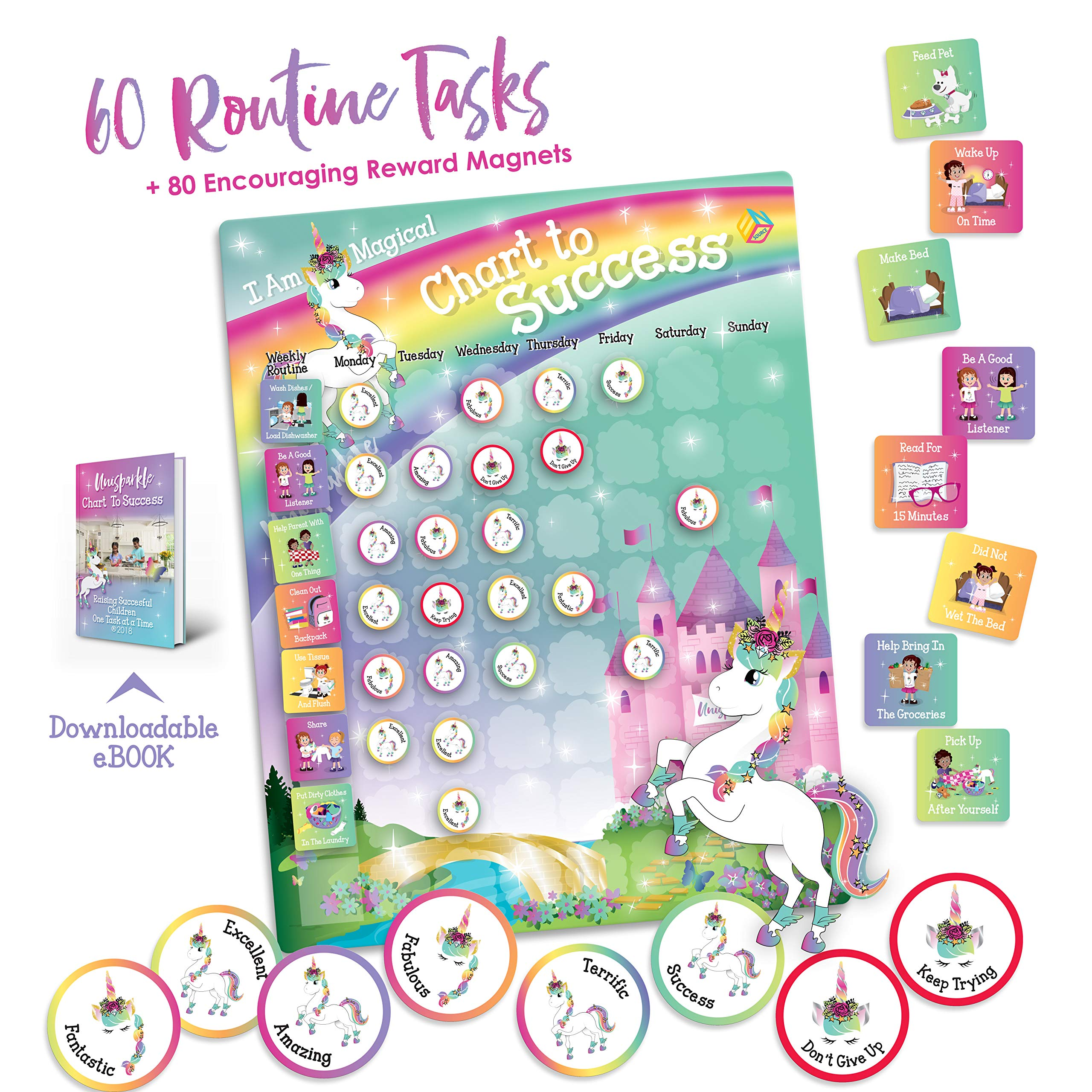 Unicorn Chart to Success| Magnetic Dry Erase| Daily Routine Responsibility Chore Chart for Kids| 80 Reward Tiles| 60 Tasks, Including Behavior and Self-Care| Fun Design for Girls| Raising a Star by EndSource (Image #1)
