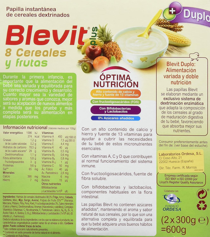 Blevit Plus Duplo 8 Cereales y Frutas - Paquete de 2 x 300 gr - Total: 600 gr: Amazon.es: Alimentación y bebidas