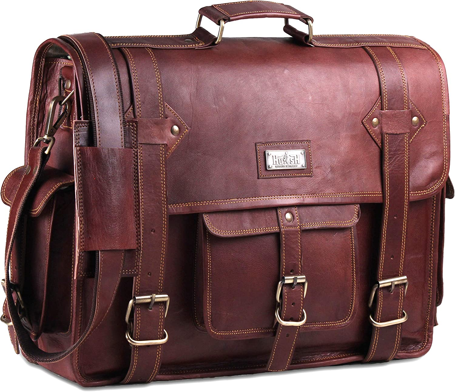 Hulsh Leather Messenger Bag for Men – Vintage Laptop Bag Leather Satchel for Men - 18 inches Genuine Leather Briefcase w/Padded Brown Leather Computer Bag with Rustic Look Best for Gifts and Travel
