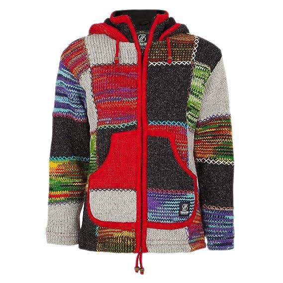 SHAKALOHA Patchwork Strickjacke Wolljacke mit Kapuze W Patch NH Multi für Damen im fairen Wettbewerb in Nepal hergestellte Wolljacke mit