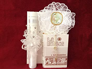 Amazon Com First Holy Communion Flowers Candle Set For Girl