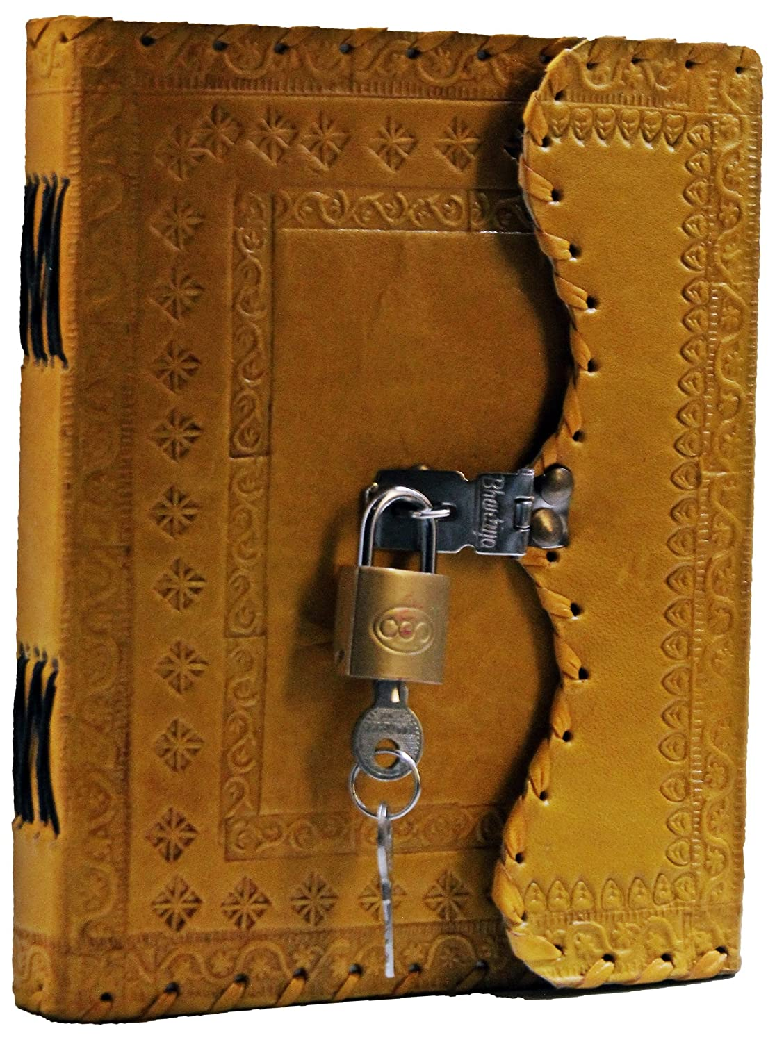 Yellow Prastara GENUINE Leather Cover Lock Diary 200 Pages, 5 x 7 Inches (Purple)