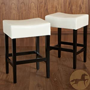 Christopher Knight Home 237525 Duff Backless Ivory Leather Counter Stools (Set of 2)
