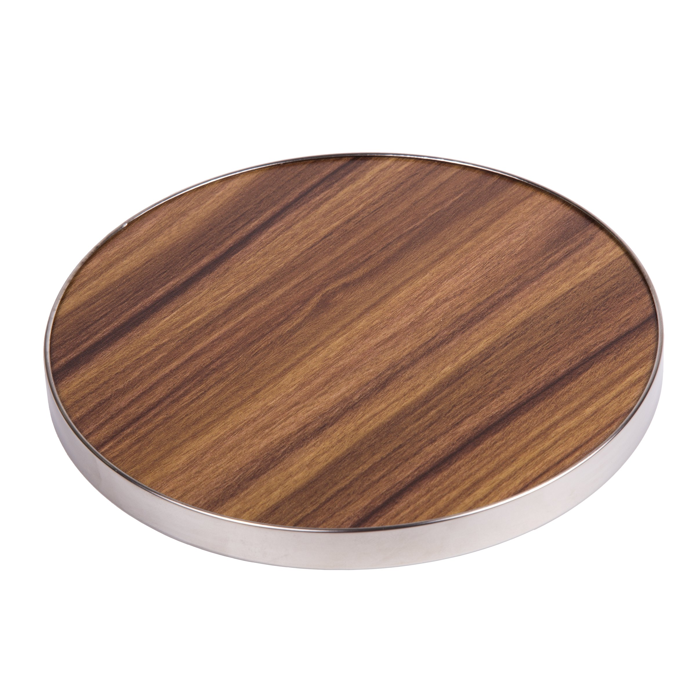 "Creative Home 50249 Fiber 7"" Round Trivet, Serving Board Acacia Wood Finish and Stainless Steel Trim, Brown by Creative Home (Image #1)"