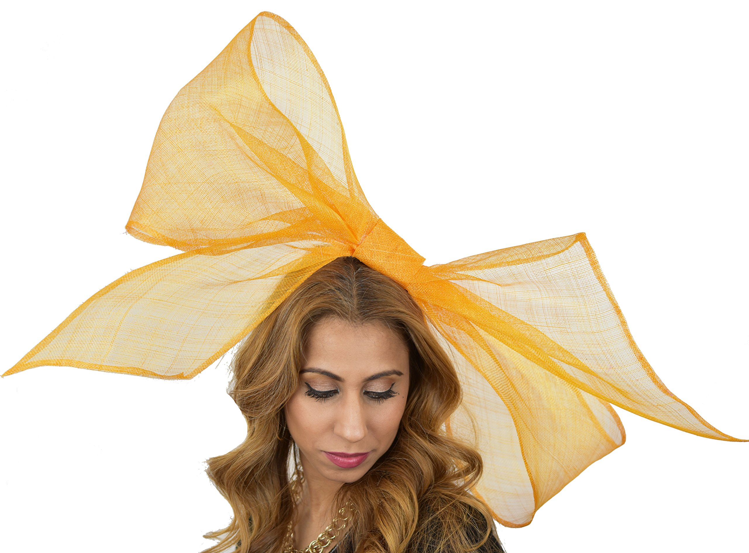 Hats By Cressida Ladies Large Wedding Races Ascot Derby Fascinator Headband Orange