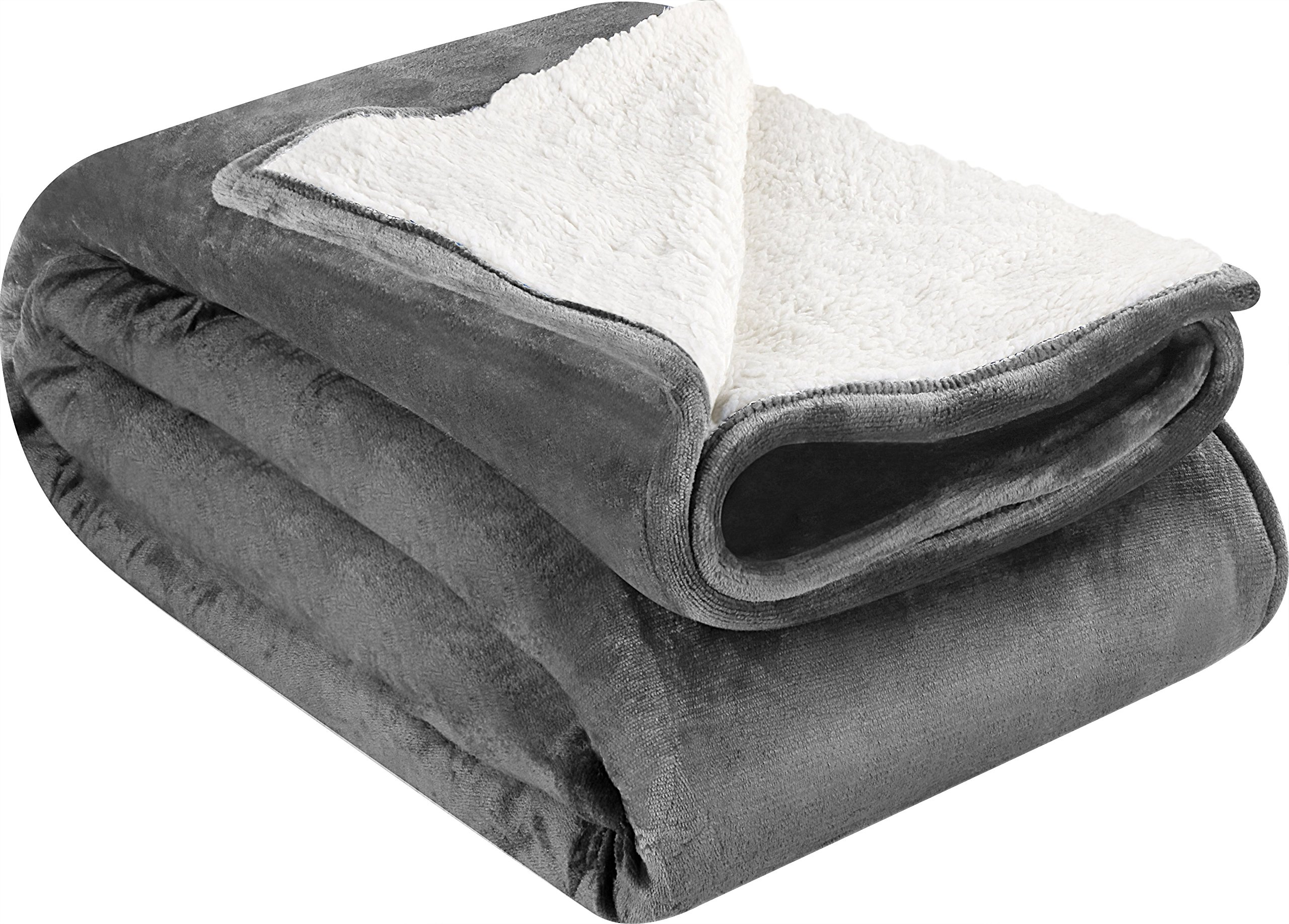 Utopia Bedding Sherpa Flannel Fleece Reversible Blankets (Grey, Queen) – Extra Soft Brush Fabric – Super Warm, Lightweight Bed/Couch Blanket – Easy Care