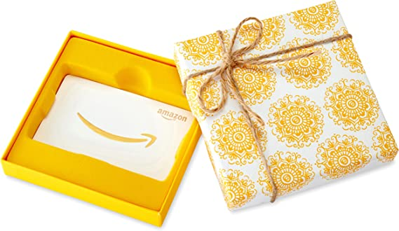 Amazon.com Gift Card in a Yellow Swirl Box