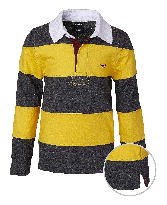f3d5b80f2db9 Amazon.com  Sportoli Boys 100% Cotton Wide Striped Long Sleeve Polo Rugby  Shirt  Clothing