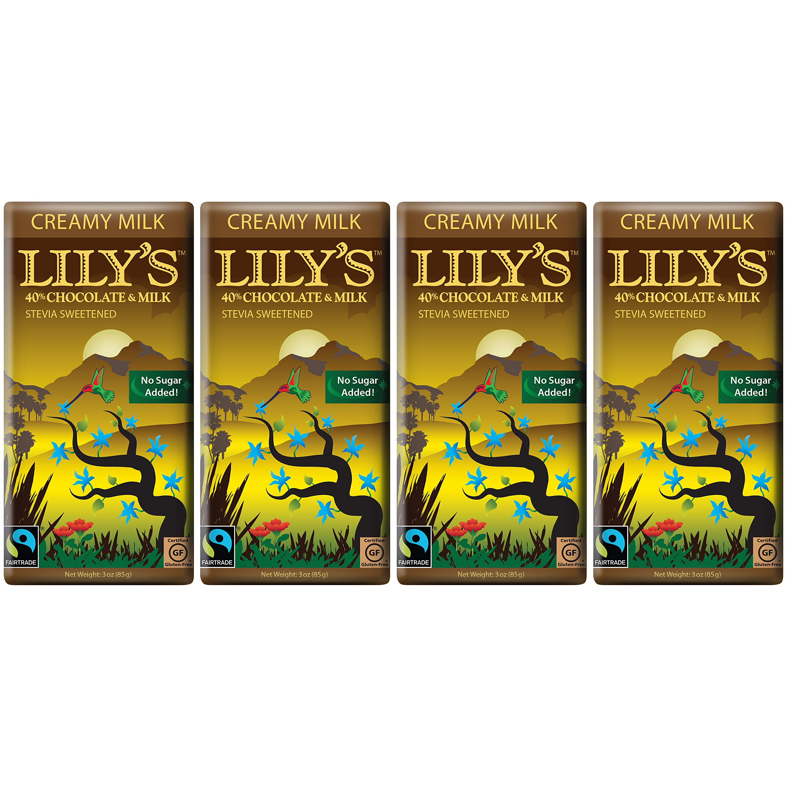 Creamy Milk Chocolate Bar by Lily's Sweets   Stevia Sweetened, No Added Sugar, Low-Carb, Keto Friendly   40% Cacao   Fair Trade, Gluten-Free & Non-GMO   3 ounce, 4-Pack by Lily's (Image #1)