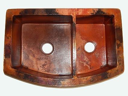 Apron Front Farmhouse Kitchen Double Bowl Mexican Copper Sink 60/40 36X22  Natural Patina
