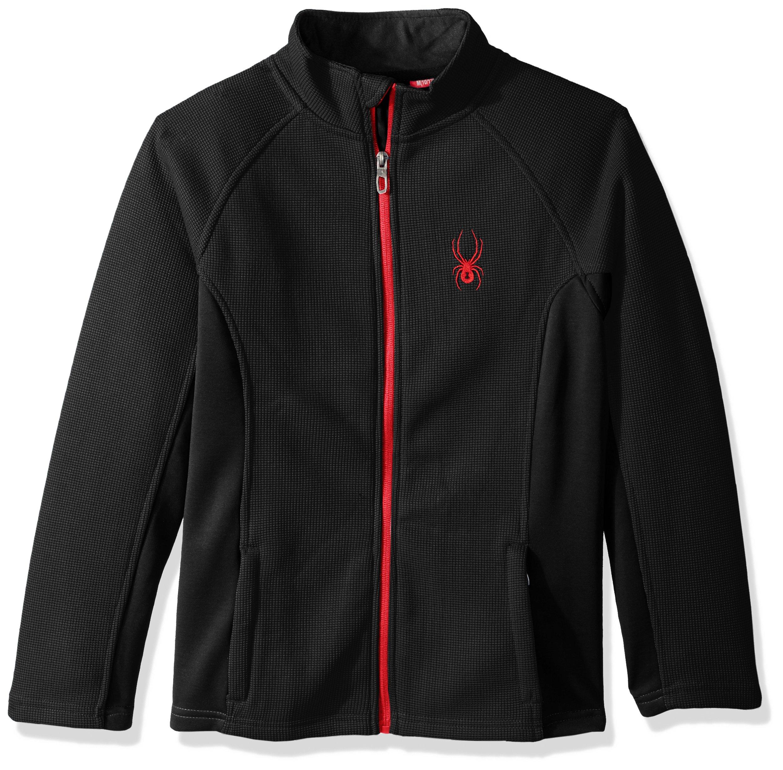 Spyder Boys' Big Central Full Zip Sweater, Black, L
