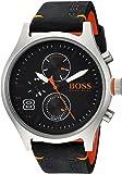 HUGO BOSS Men's Amsterdam Stainless Steel Quartz Watch with Leather Calfskin Strap, Black, 22 (Model: 1550020)