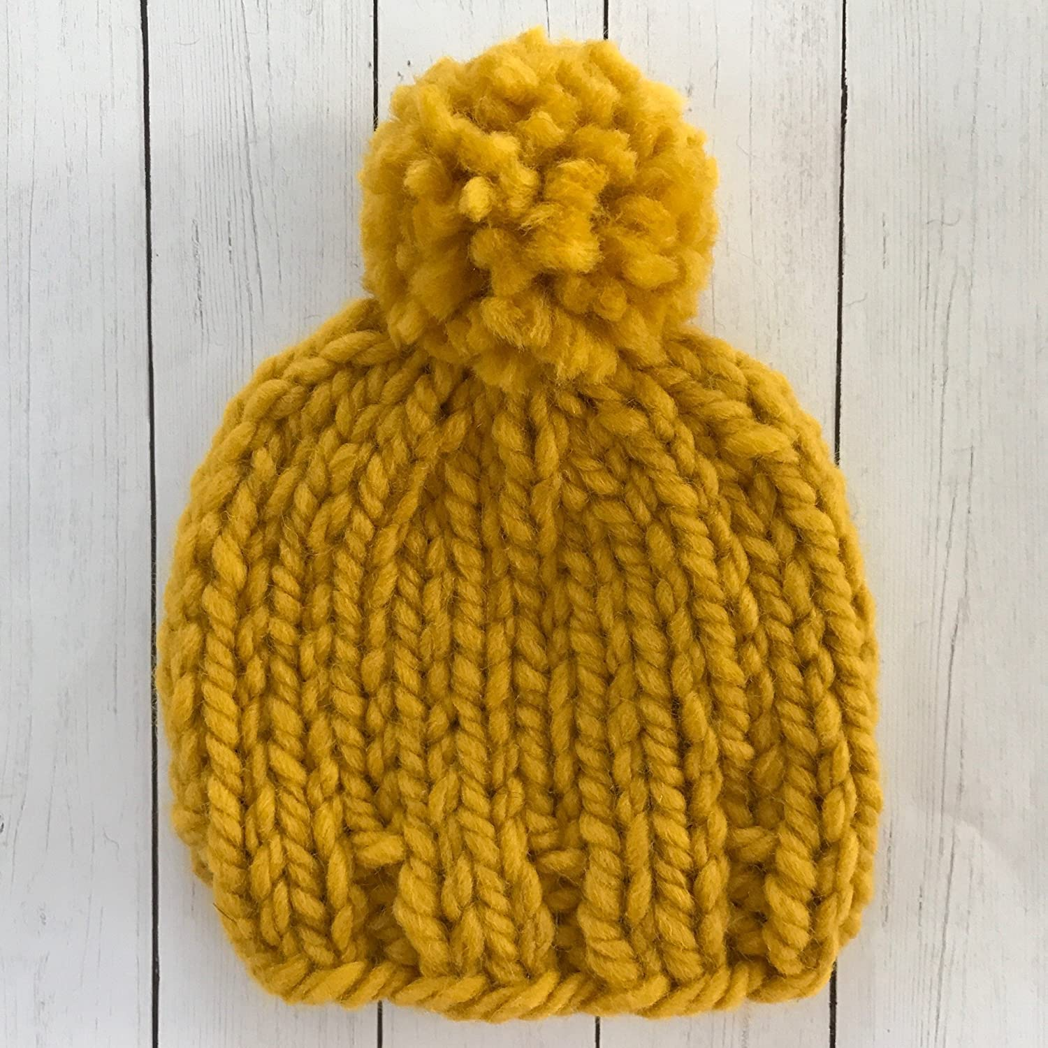 Amazon.com  Mustard Yellow Baby Beanie - 0 to 3 Months  Handmade 212e9b35554